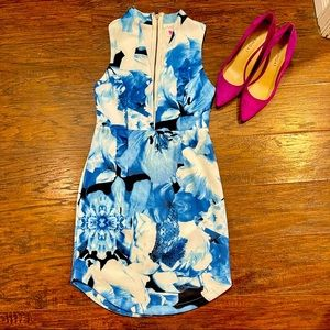 L'ATISTE sexy Deep V Low cut blue floral dress.